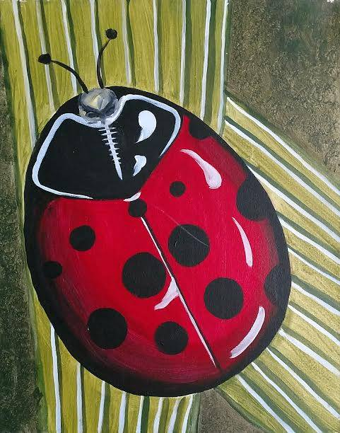 Lady bug acrylic painting