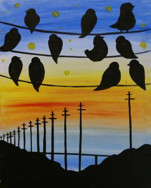 Birds on a wire painting party in KCMO