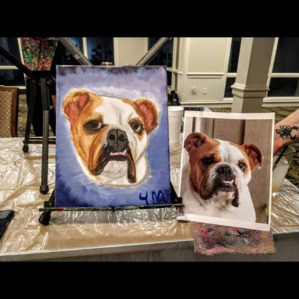Paint your own pet painting party in Kansas City - Bulldog painting party