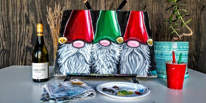 Christmas Santa hats painting