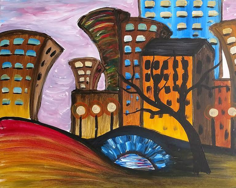 Cityscape painting abstract - Kansas City painting parties