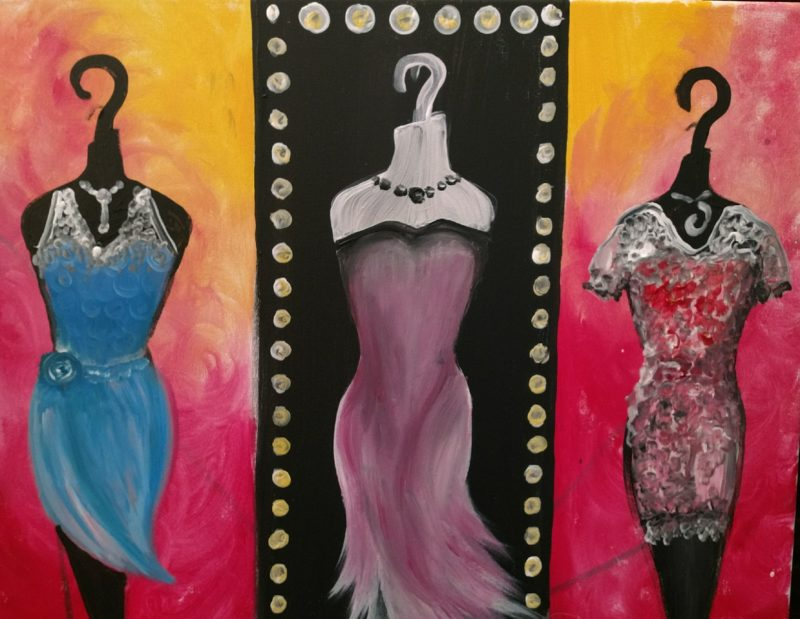 Fashion painting - dresses - open-house painting party in Kansas City at Hook Gallery in Westport