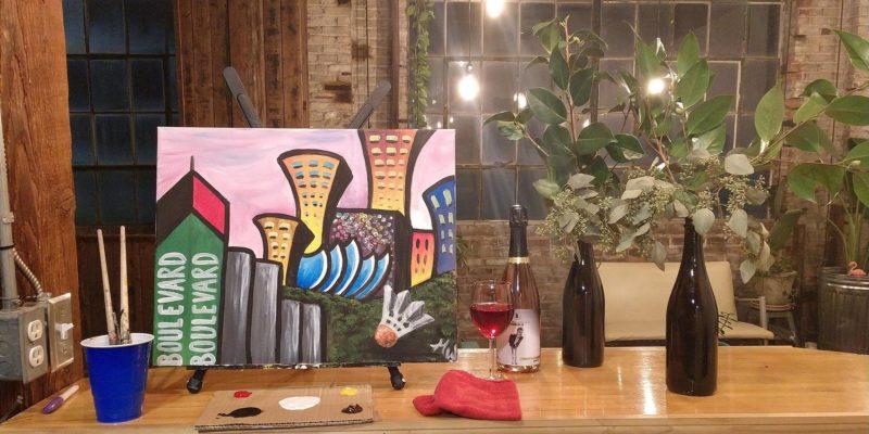 Painting party - Boulevard Brewing Co. Kansas City skyline