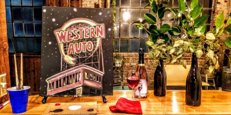 Western Auto sign - downtown KCMO painting party - BYOB paint and sip, Kansas City landscape and skyline