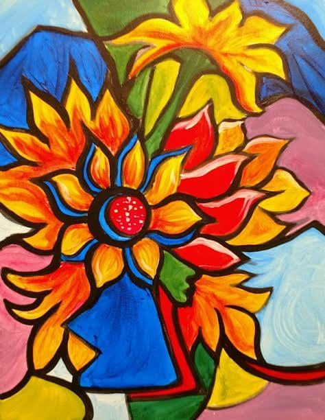 Abstract flower painting - Kansas City Painting Parties