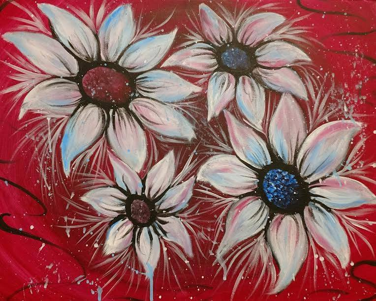 Flowers - BYOB paint and sip in Kansas City painting party