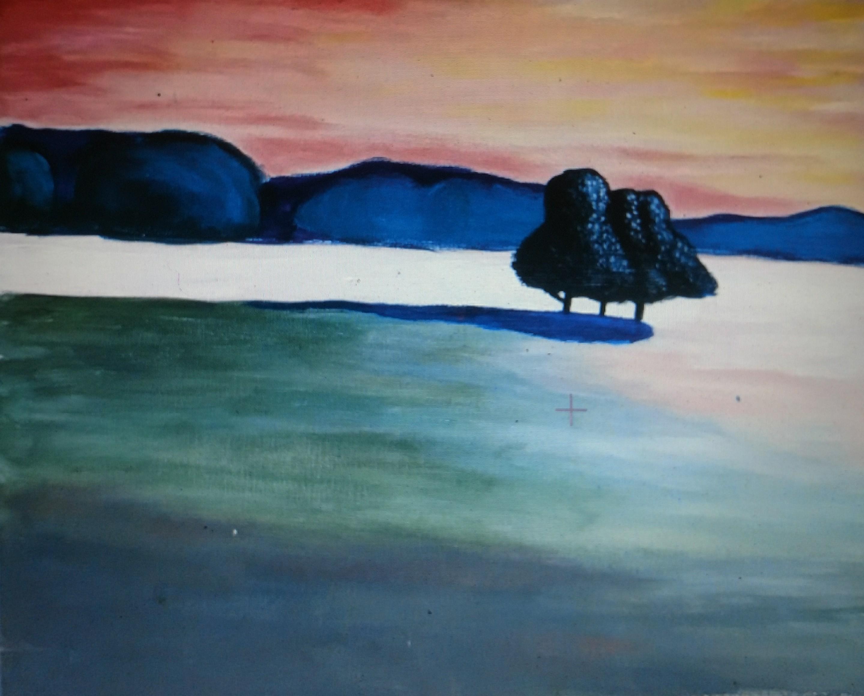 Landscape sunset painting party