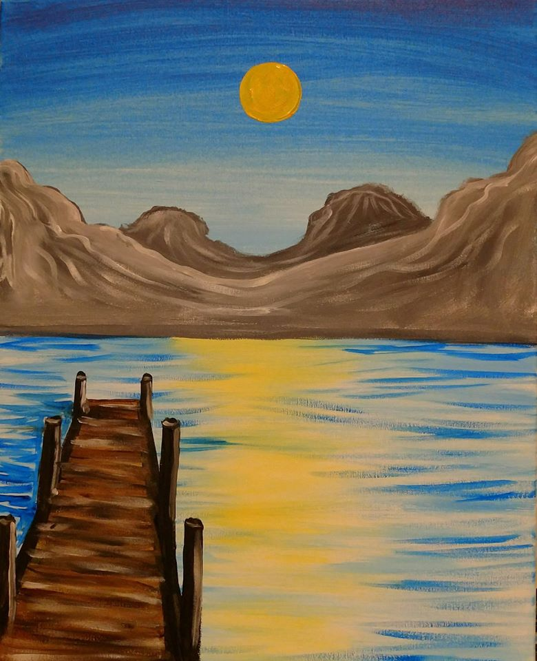 Mountain lake painting party