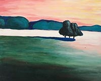 Painting party pink sky landscape