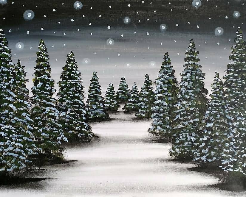 Winter trees - painting party in KCMO