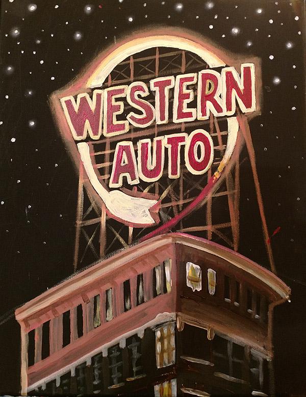 Western Auto Sign - Kansas City Skyline Painting