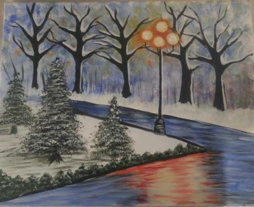 winter holiday scene painting parties in kansas city